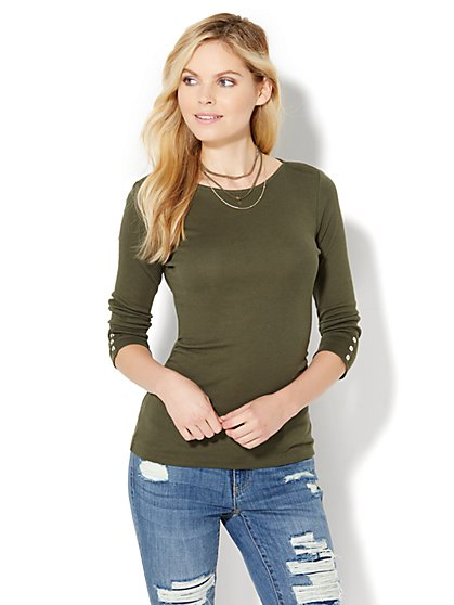 Shirred Bateau-Neck Top  - New York & Company