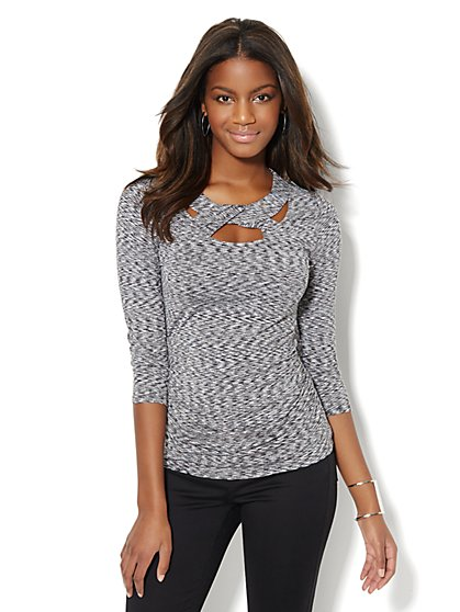 Shirred Cut-Out Top  - New York & Company