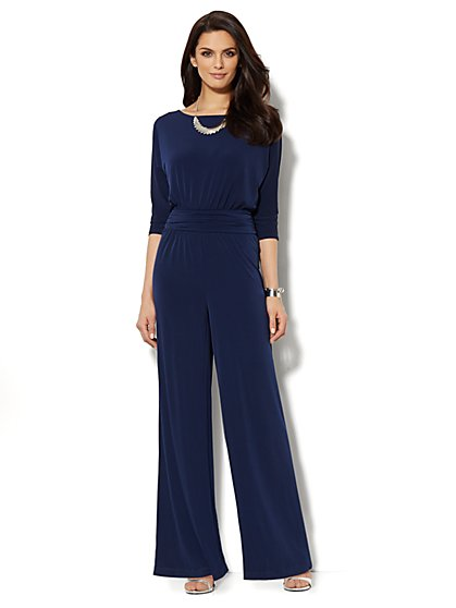 Shirred Dolman Banded-Waist Jumpsuit  - New York & Company