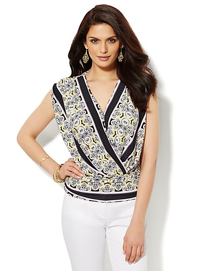 Shirred Faux-Wrap Top - Print  - New York & Company