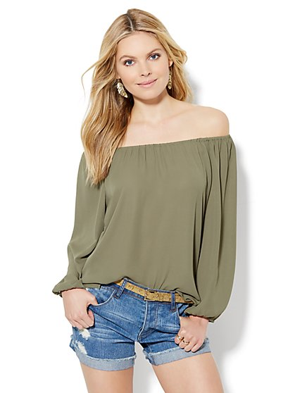 Shirred Off-The-Shoulder Blouse  - New York & Company