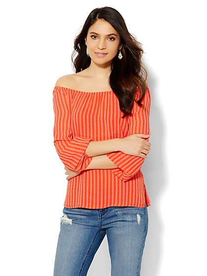 Shirred Off-the-Shoulder Top - Print  - New York & Company