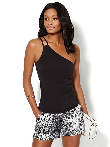 Shirred One-Shoulder Top - Solid  - New York & Company