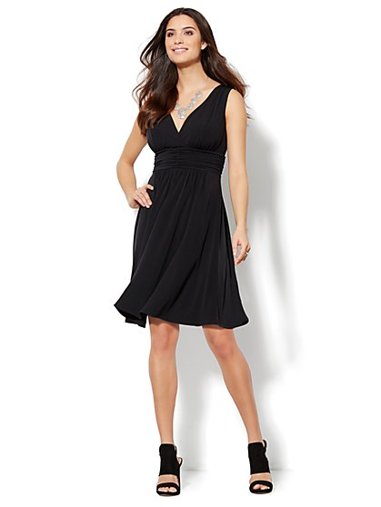 Shirred & Pleated V-Neck Dress  - New York & Company