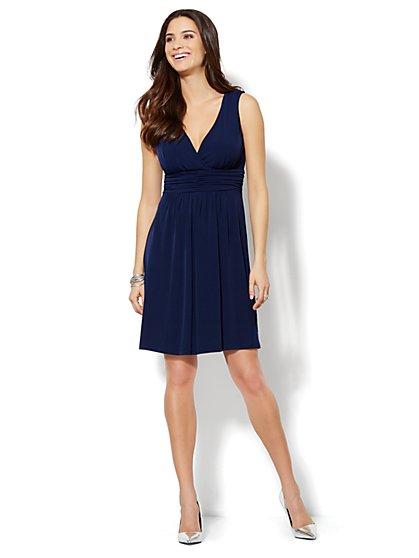 Shirred & Pleated V-Neck Dress  - New York & Company