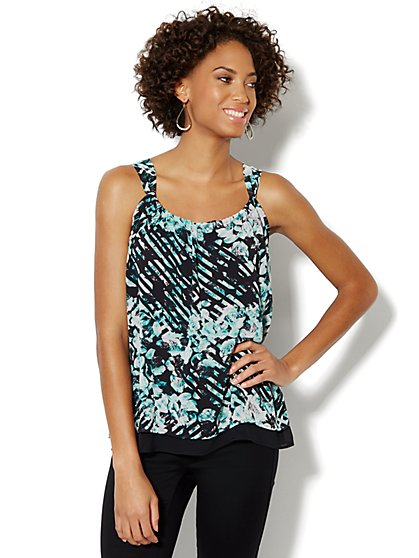Shirred Printed Camisole Top - New York & Company