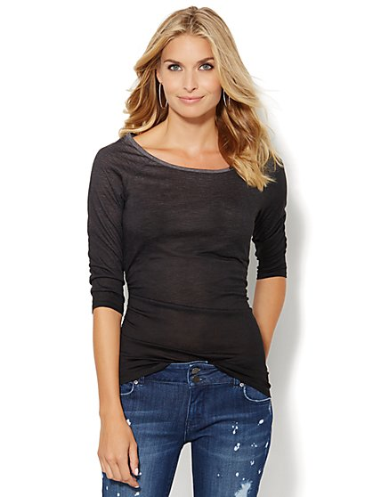 Shirred Scoopneck Top - Ombre  - New York & Company