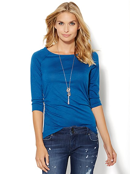 Shirred Scoopneck Top - Solid  - New York & Company