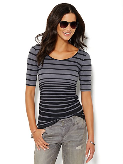Shirred Scoopneck Top - Varigated Stripes  - New York & Company