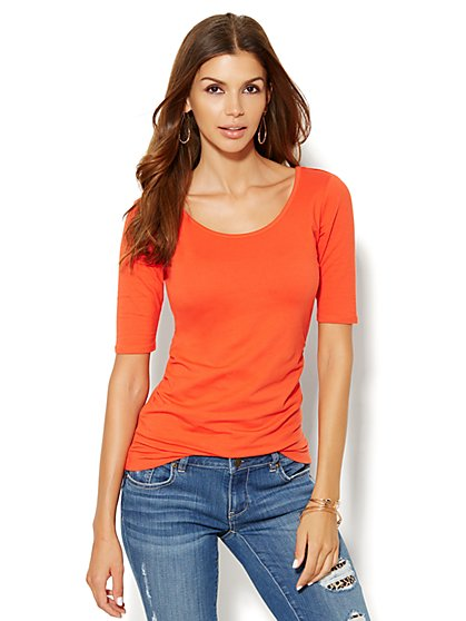 Shirred Scoopneck Top - New York & Company