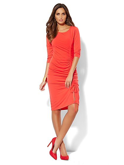 Shirred Side-Seam Drawstring Dress - Red Harbor - New York & Company