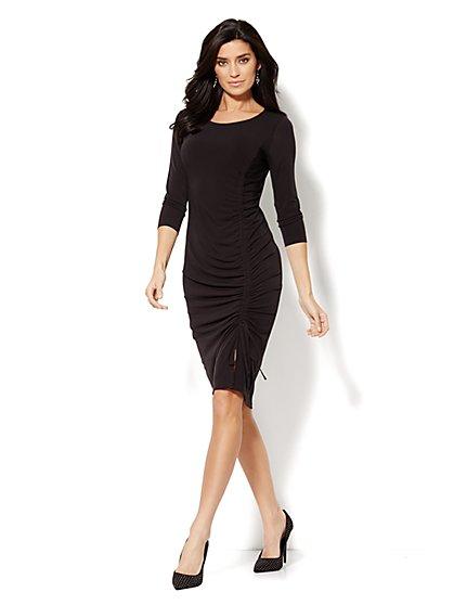 Shirred Side-Seam Drawstring Dress  - New York & Company
