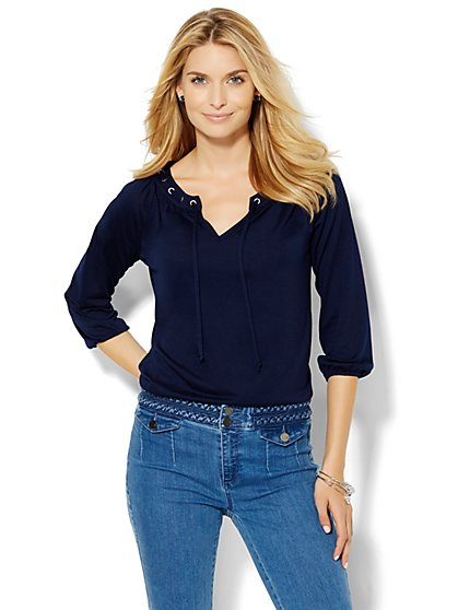 Shirred Split-Neck Knit Top  - New York & Company