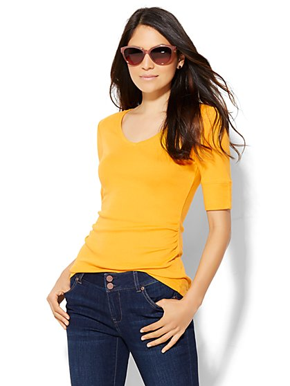 Shirred V-Neck Tee  - New York & Company