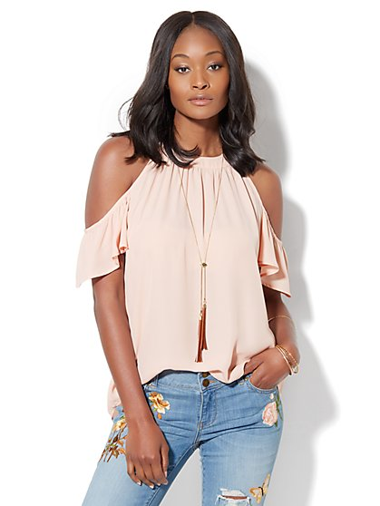 Short-Sleeve Cold-Shoulder Blouse  - New York & Company