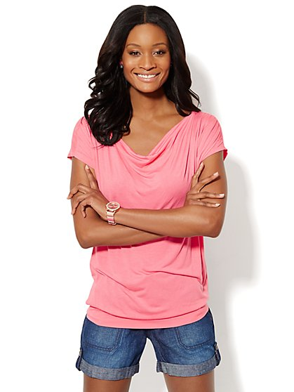 Short-Sleeve Cowlneck Top  - New York & Company