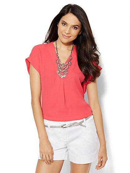 Short-Sleeve Dolman Blouse  - New York & Company