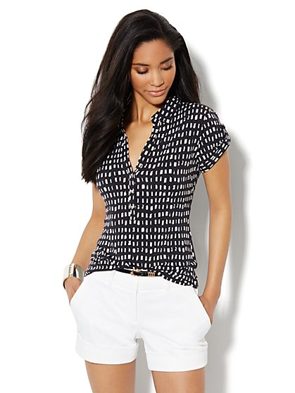 Short-Sleeve Knit Top- Windowpane Print