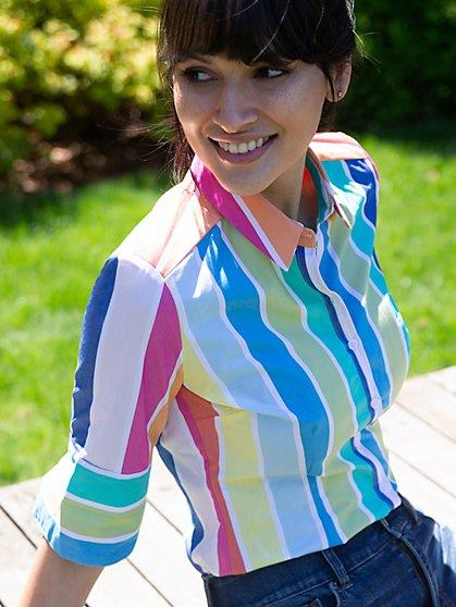 Short-Sleeve Madison Stretch Shirt - Secret Snap - 7th Avenue - New York & Company