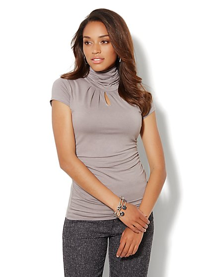Short-Sleeve Shirred Keyhole Turtleneck  - New York & Company