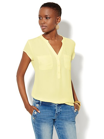 Short-Sleeve Split-Neck Blouse  - New York & Company