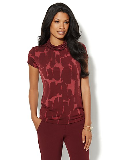 Short-Sleeve Turtleneck - Print - New York & Company