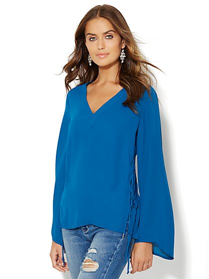 Side Lace-Up Tunic  - New York & Company