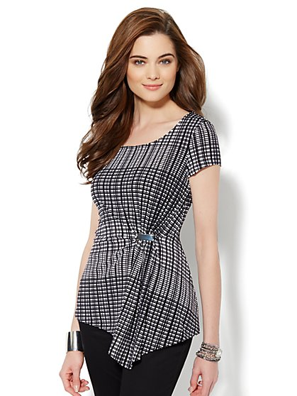 Side-Pleat Knit Top - Plaid