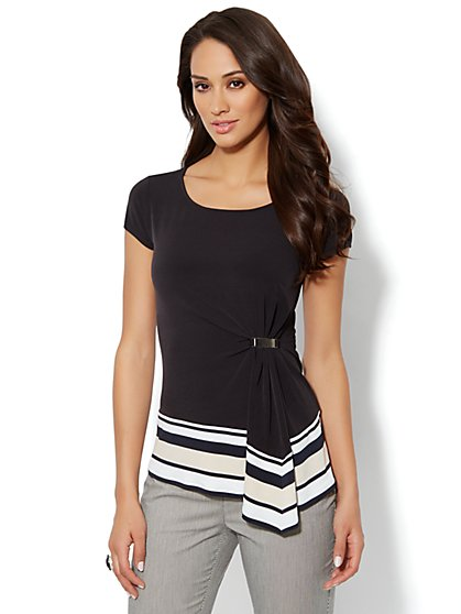 Side-Pleat Knit Top - Stripe Hem