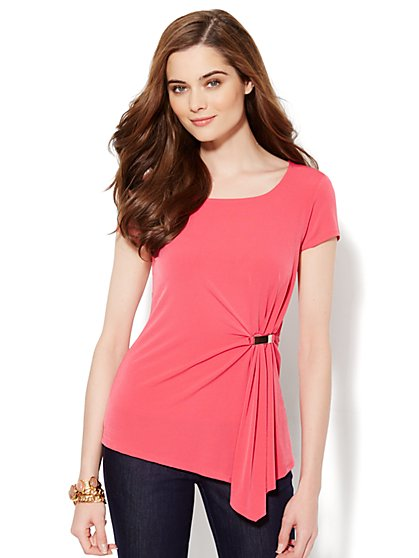 Side-Pleat Knit Top