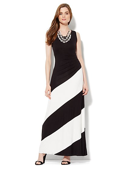 Side-Pleat Stripe Maxi Dress