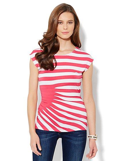 Side-Pleat Stripe Top - New York & Company