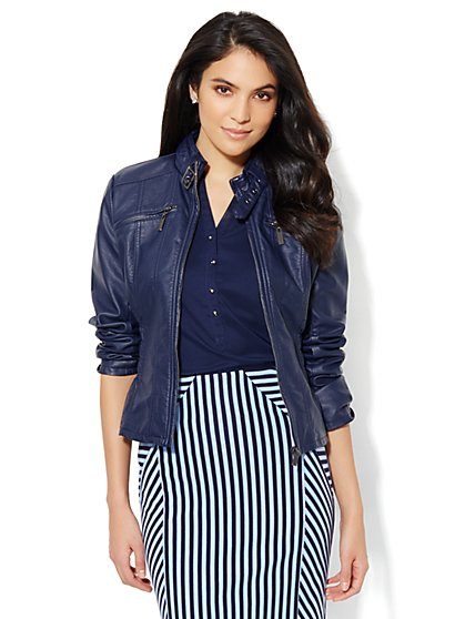Side-Ruched Faux-Leather Jacket