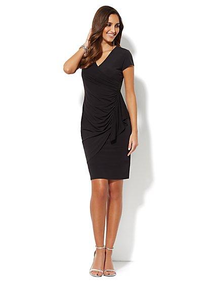 Side-Ruffle Wrap Dress - Solid  - New York & Company