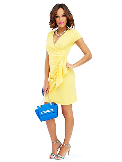 Side-Ruffle Wrap Dress - Solid  - New York & Company