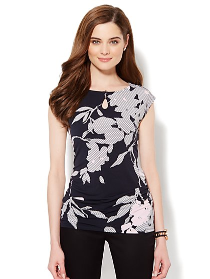 Side-Shirred Knit Top - Floral Print