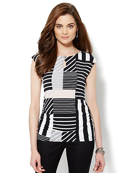 Side-Shirred Knit Top - Stripe