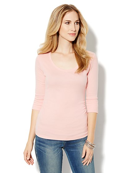 Side-Shirred Knit Top - New York & Company