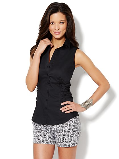 Side-Shirred Sleeveless Shirt