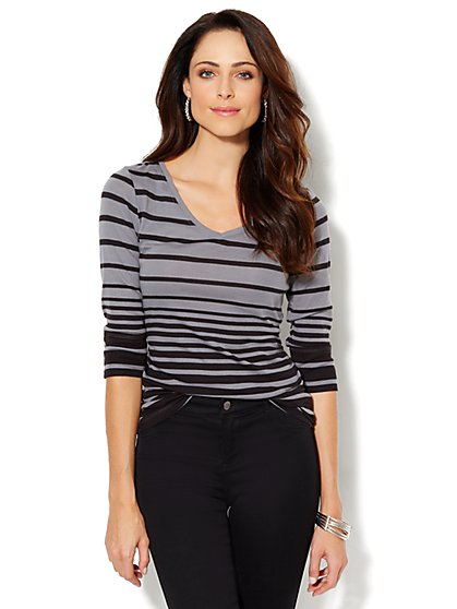 Side-Shirred Stripe Top - New York & Company