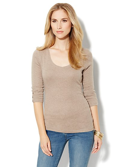 Side-Shirred V-Neck Top - New York & Company