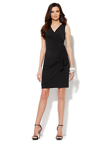 Side-Shirred Wrap Dress