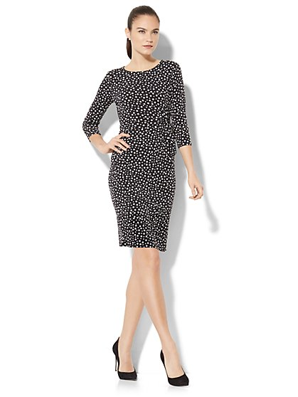 Side Tie Knit Dress - Dot Print - New York & Company