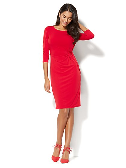 Side Tie Knit Dress - New York & Company