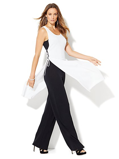 Side-Tie Layered Sweater Jumpsuit  - New York & Company