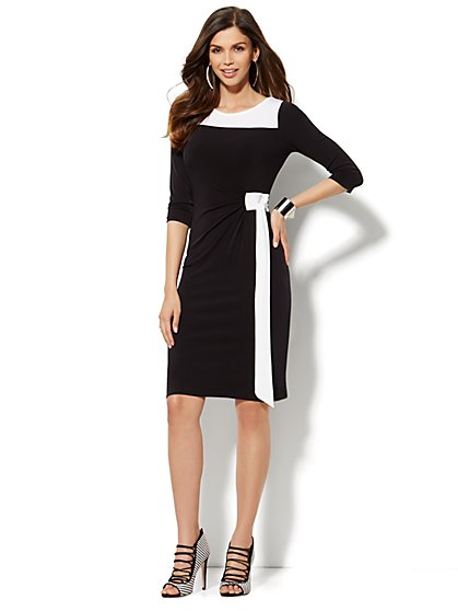Side-Tie Shirred Dress - Black & White - Petite - New York & Company