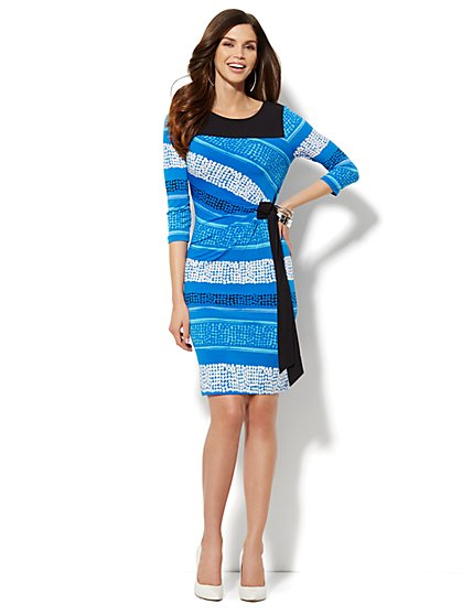 Side-Tie Shirred Dress - Dot & Linear Print - New York & Company
