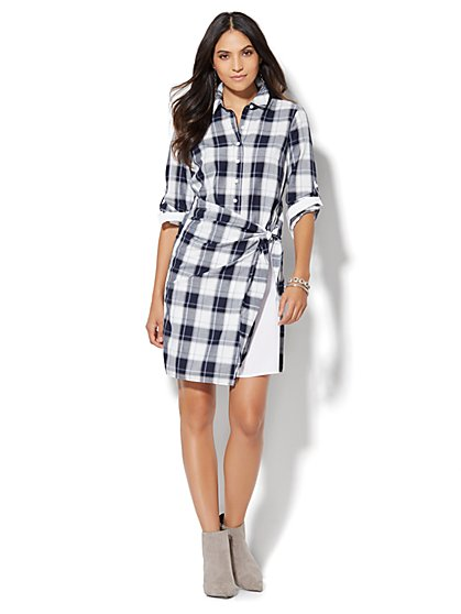 Side-Tie Shirtdress - Black & White Plaid Print  - New York & Company