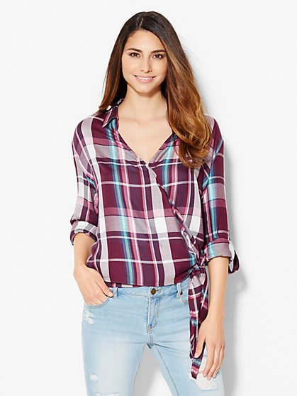 Side-Tie Wrap Shirt - Plaid Print  - New York & Company