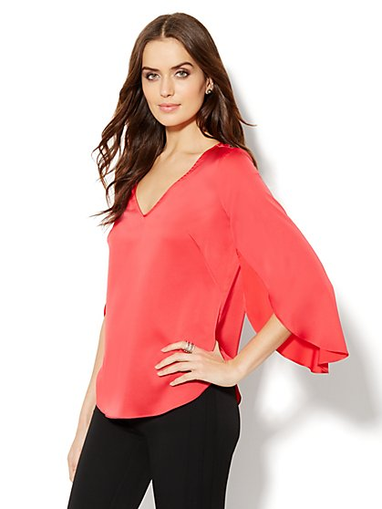 Silky Flutter-Sleeve Blouse  - New York & Company